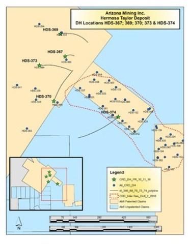 Drill Location Map (CNW Group/Arizona Mining Inc.)