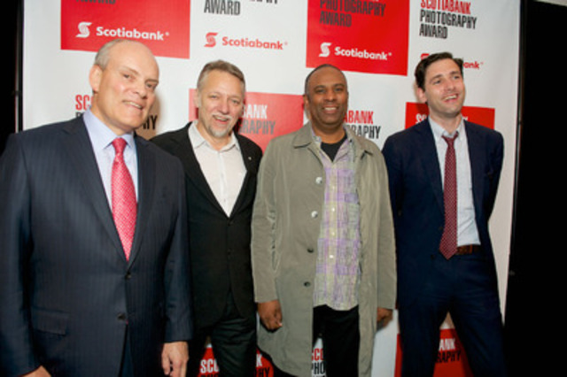 Canadian Photographer Stan Douglas is named the 2013 Scotiabank Photography Award winner. (L to R) Scotiabank President Brian Porter, renowned Canadian photographic artist Edward Burtynsky, 2013 Scotiabank Photography Award Winner Stan Douglas and Globe and Mail Arts and Life Editor Gabe Gonda. (CNW Group/Scotiabank)