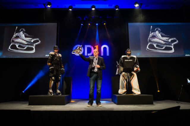Bauer Hockey's GM for Equipment, Craig Desjardins, holds up the Bauer OD1N skate, the lightest hockey skate ever created. (CNW Group/BAUER HOCKEY, INC.)