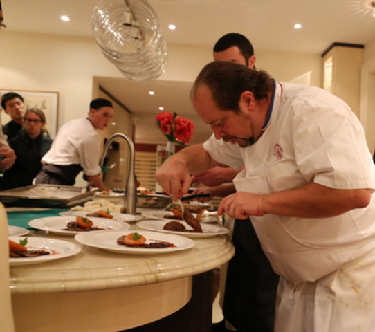 In one of 30 private homes, three-Michelin star Chef Gilles Goujon from Auberge du Vieux Puits in Fontjoncouse, France prepared a sumptuous feast for his Grand Cru guests on Saturday, November 2, 2013 at the Exclusive Wine and Dine Experience. (CNW Group/Toronto General & Western Hospital Foundation)