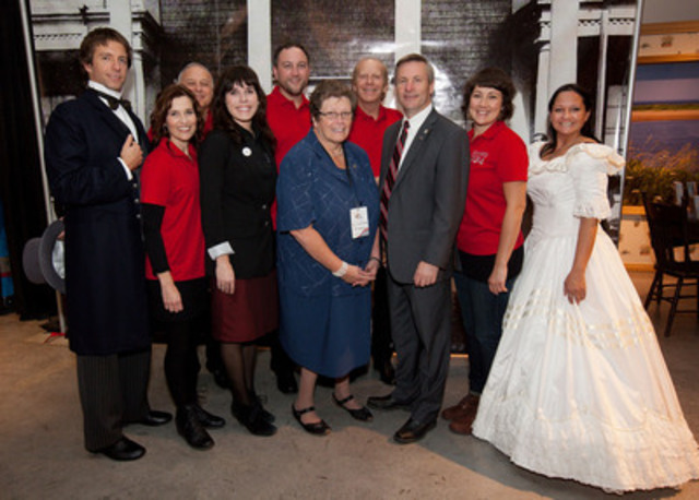 Representing the Government of Canada, MP for Miramichi, Tilly O'Neill Gordon, is joined by (from left to right) PEI 2014 Inc. Executive Director, Penny Walsh McGuire, PEI's Minister of Tourism and Culture, Hon. Robert Henderson, and the cast of the Island Roadshow in Ottawa for the unveiling of the official PEI 2014 Celebration Calendar for the 150th anniversary of the Charlottetown Conference. (PHOTO: Jana Chytilova) (CNW Group/Prince Edward Island 2014 Inc.)