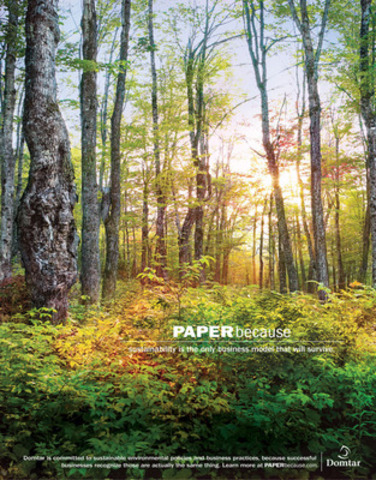 PAPERbecause, Sustainability is the only business model that will survive. (CNW Group/DOMTAR CORPORATION)