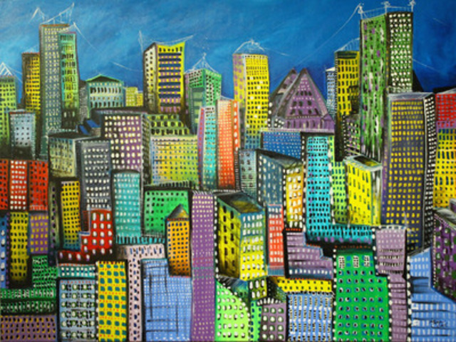 """Maria Curcic cityscape, """"the City Unfolds"""", acrylic on canvas  48 x 36 (CNW Group/Maria Curcic)"""