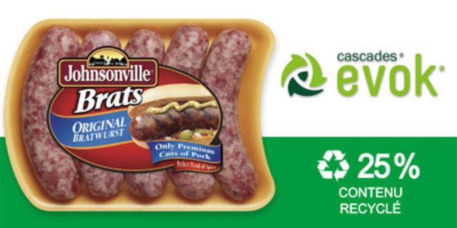 Cascades® EVOK ® est la première barquette alimentaire à contenir 25 % de matière recyclée en Amérique du Nord. (Groupe CNW/Cascades Inc.)
