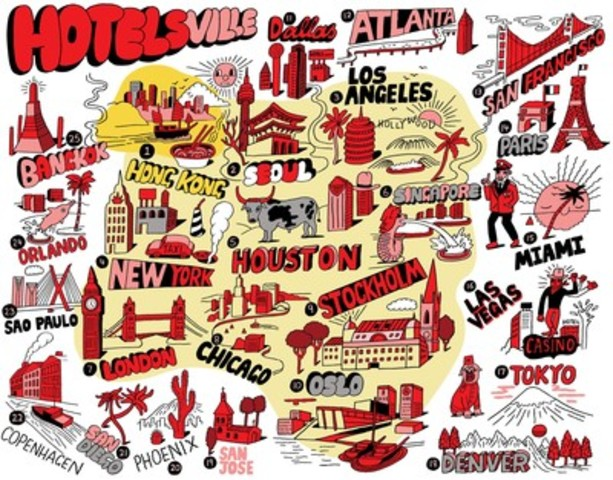 Introducing Hotelsville … Celebrated international artist Jeremyville captures the top 25 cities that are home to the world's savviest travellers, who have booked the most free Hotels.com™ Rewards nights. (CNW Group/Hotels.com)