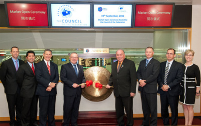 Representatives from Nova Scotia Business Inc., joined Nova Scotia Premier Darrell Dexter, Northwest Territories Premier Bob McLeod and other government officials for the Market Open Ceremony at the Hong Kong Stock Exchange. Premier Dexter spoke to the province's recent success in building an international financial services sector in Halifax. (CNW Group/Nova Scotia Business Inc.)