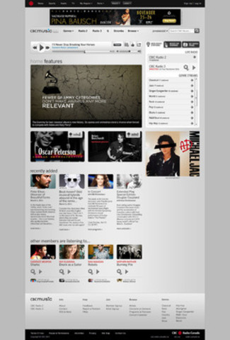 CBC Music - Screenshot Home Page (CNW Group/CBC Music)