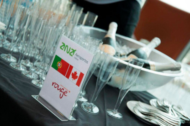 Air Canada rouge Lisbon 5 - a toast to the first Lisbon-Toronto flight on 22 June 2014 (CNW Group/Air Canada ...