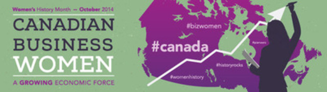 A map of Canada on a green background with a silhouette of a woman holding a paper in her left hand and, with her right, she is holding a marker to the tip of an arrow that points upward. (CNW Group/Status of Women Canada)