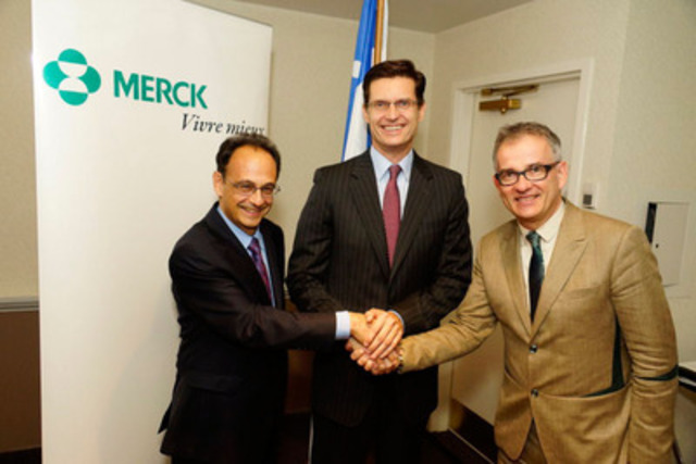 Merck Canada Announces a $4 Million Grant To Support Patient-Centered Care (from left to right) Dr. Renaldo Battista, Scientific Director, FRQS; Dr. Thomas R. Cannell, President and Managing Director, Merck Canada Inc.; Dr. Réjean Hébert, Québec Minister of Health and Social Services. (CNW Group/Merck)