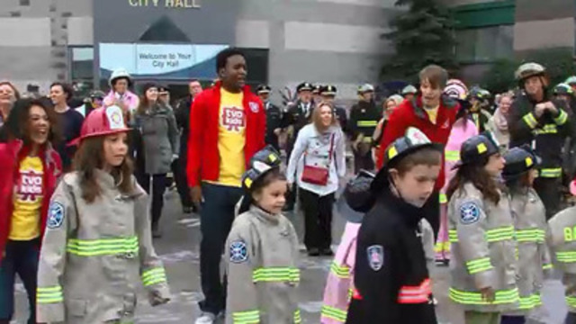 VIDEO: Flash mob of more than 100 kids and firefighters kick-off Fire Prevention Week at Barrie City Hall
