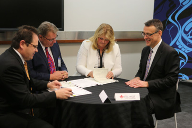 Hatch and First Pac West officially sign the joint venture agreement on March 11, 2015 at Hatch's head office in Mississauga, Ontario, Canada. L to R: Robert Francki, Global Managing Director, Hatch; Peter Molander, Chief Executive Officer, First Pac West; Tammy Monsell, President, First Pac West; John Bianchini, Chief Executive Officer, Hatch (CNW Group/HATCH)