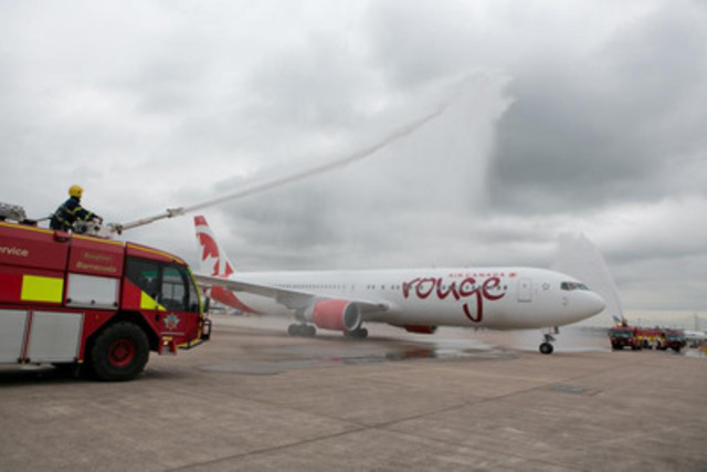 Air Canada rouge Manchester 2 - Air Canada rouge Boeing 767-300ER aircraft was given a water cannon salute as it arrived from Toronto at Manchester Airport on 27 June 2014 (CNW Group/Air Canada rouge)
