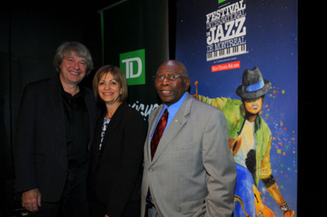 Christine Marchildon, Senior Vice-President, Branch Banking, TD Canada Trust, and Chair, Quebec Market, TD Bank Group, surrounded by Alain Simard, cofounder of L'Équipe Spectra, and the renowned Mr. Oliver Jones (CNW Group/TD Bank Group)