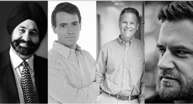 2014 TEDxToronto speakers Nav Bhatia (Raptor's Superfan), Adam van Koeverden (Olympic Kayaker), David Fleet (Computer Science Professor) and Colin Boyd Shafer (Photographer, Cosmopolis Toronto) will take the stage on October 2nd at Koerner Hall in Toronto. (CNW Group/TEDx Toronto)