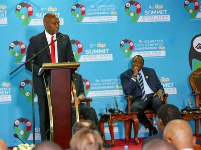 تحسين بيئة الأعمال لدفع عجلة التصنيع وخلق الثروات في بلدان أفريقيا والكاريبي والمحيط الهادئ، إلوميلو موجهًا خطابه إلى رؤساء الدول الأعضاء بمجموعة أفريقيا والكاريبي والمحيط الهادئ في كينيا