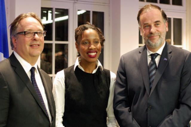 Le vin d'honneur s'est déroulé en présence de Christian Roy, directeur général du Cégep Gérald-Godin; Yolande James, députée de Nelligan; Pierre Duchesne, ministre de l'Enseignement supérieur, de la Recherche, de la Science et de la Technologie. (Groupe CNW/Cégep Gérald-Godin)