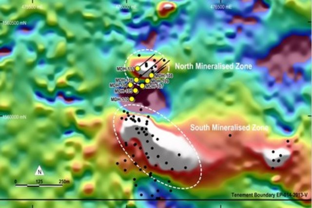 Figure 1. Location of drill holes reported in this release on RTP ground magnetic image. (CNW Group/RTG Mining Inc.)