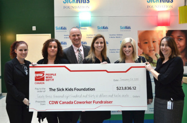 CDW Canada coworkers (from left to right: Christine Wallace, Carla Cirillo, Daniel Reio, Julie Clivio and Jackie Macera) present a cheque to Jennifer Frew to benefit Children's Miracle Network in support of The Hospital for Sick Children (SickKids). (Courtesy of CDW Canada) (CNW Group/CDW Canada Inc.)