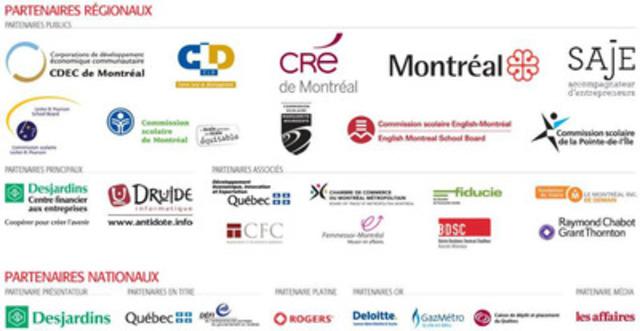 Partenaires régionaux (Montréal) et nationaux du Concours québécois en entrepreneuriat. (Groupe CNW/SAJE ACCOMPAGNATEUR D'ENTREPRENEURS)