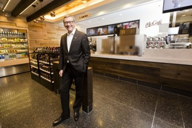John Betts, President and CEO of McDonald's Canada, opens the first Canadian standalone McCafé in Toronto's Union Station. (CNW Group/McDonald's Canada)