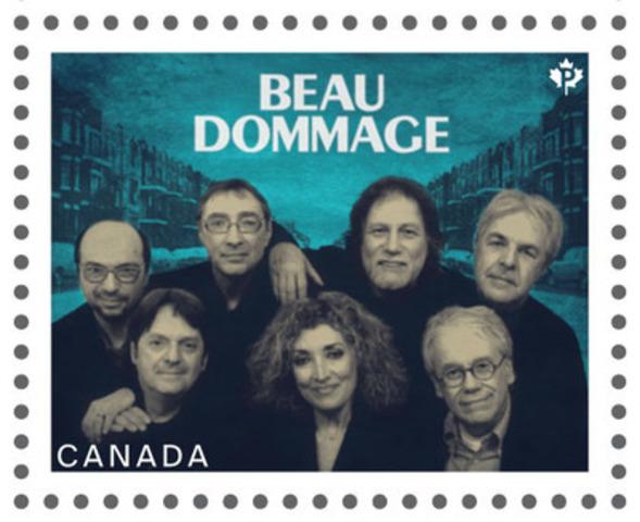 Ce timbre de la série consacrée aux artistes canadiens de la chanson met en scène Beau Dommage (Groupe CNW/Postes Canada)