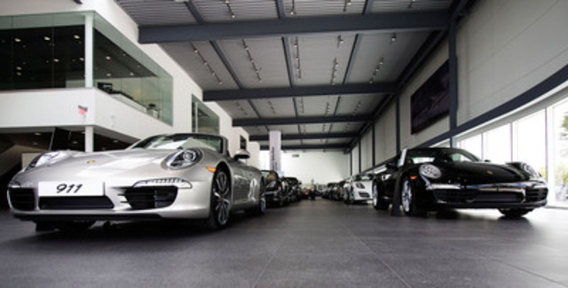 A photo from inside Porsche Centre Oakville - Canada's largest and most technologically-advanced Porsche facility that officially opened its doors on September 16, 2013 to service the western edge of the Greater Toronto Area, including Oakville, Burlington, Hamilton, Grimsby and surrounding communities. (CNW Group/Policaro Automotive Family)