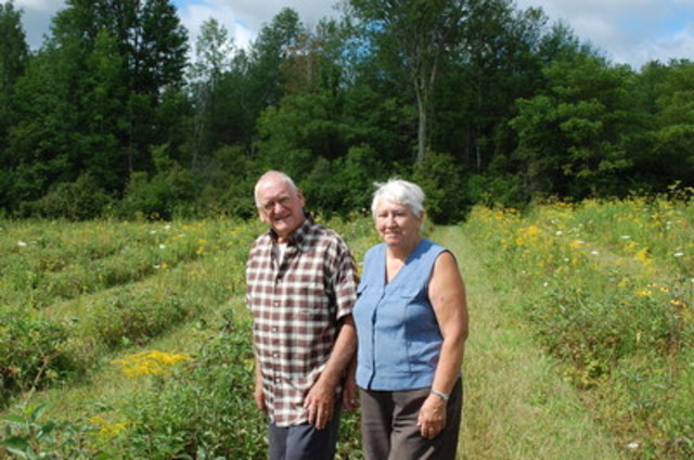 Forests Ontario's Green Leaders Ray and Marlene Beauregard on their property in Stormont Township, Ontario. (CNW Group/Forests Ontario)