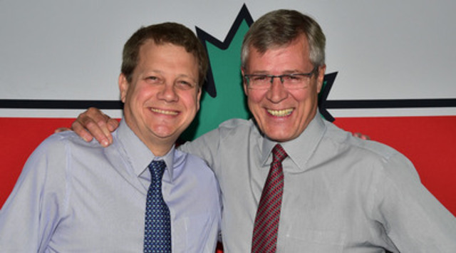 Stephen Wetmore congratulates Michael Medline on his appointment to President and CEO of Canadian Tire Corporation, effective December 1, 2014. (CNW Group/CANADIAN TIRE CORPORATION, LIMITED)