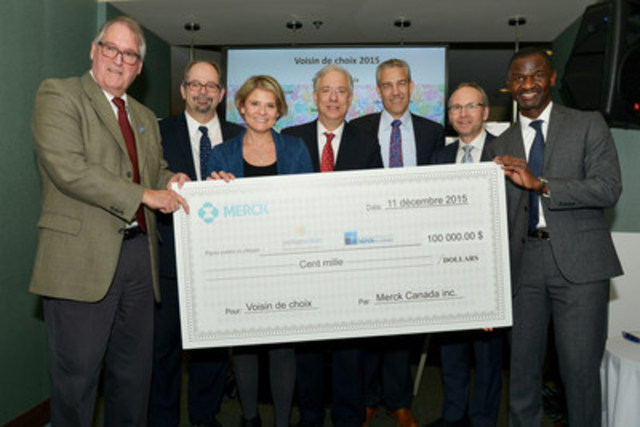 At a Neighbour of Choice celebration held on Friday, December 11, Merck Canada Inc. announced the allocation of a $100,000 grant donation to be divided equally between NOVA West Island and West Island Community Shares in recognition of the hard work and positive impact that they've had in the community over the years. Established in the 1990s, the Merck Neighbour of Choice program aims to build relationships of mutual trust and support with local non-profit organizations and residents in communities where Merck head offices are located.  From left to right: Mr. Tom Thompson, President of the Board of Directors of NOVA West Island; Mr. Geoffrey Kelley, Member of the National Assembly for Jacques-Cartier and Minister Responsible for Native Affairs; Ms. Caroline Tison, Executive Director of West Island Community Shares; Mr. Francis Scarpaleggia, Member of Parliament for Lac St-Louis; Mr. Frank Baylis, Member of Parliament for Pierrefonds-Dollard; Mr. Martin Coiteux, Member of the National Assembly for Nelligan, Minister Responsible for Government Administration and Ongoing Program Review and Chair of the Conseil du trésor and Mr. Chirfi Guindo, President and Managing Director of Merck Canada Inc.  (CNW Group/Merck Canada Inc.)