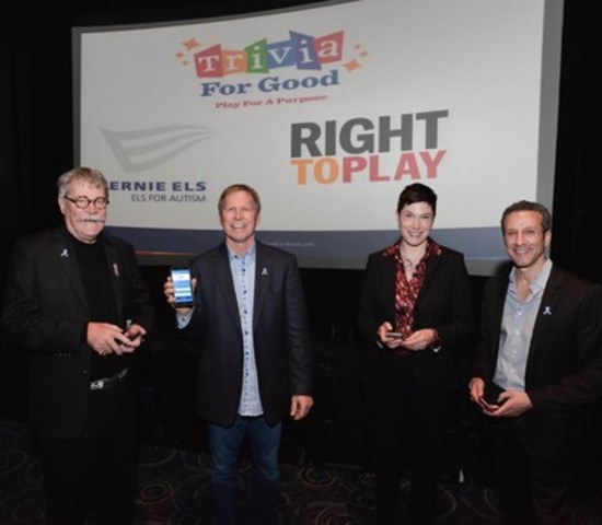 """Trivia For Good Launch - """"Play For a Purpose."""" Left to right: Alan Rae, Director, Els For Autism Canada; Ron Hulse, COO, Trivia For Good; Lori Smith, National Director, RIght to Play; Steven Glaser, CEO, Trivia For Good (CNW Group/TRIVIA FOR GOOD INC)"""