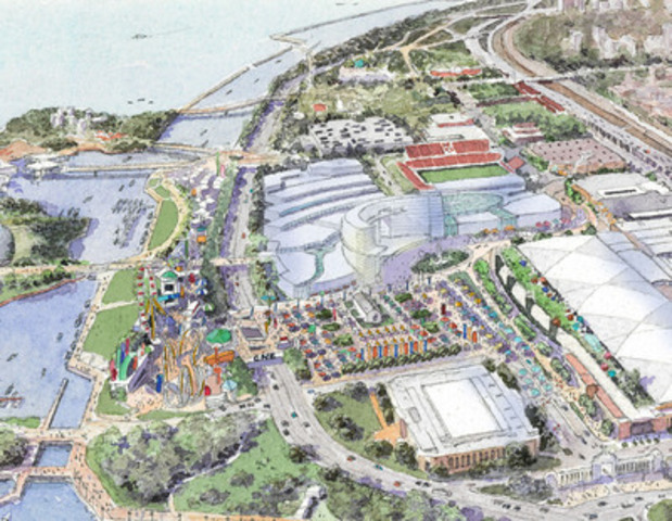 MGM Toronto will move parking underground allowing CNE to take place closer to the water, surrounded by open green space, on what used to be a parking lot. (CNW Group/Cadillac Fairview Corporation Limited)