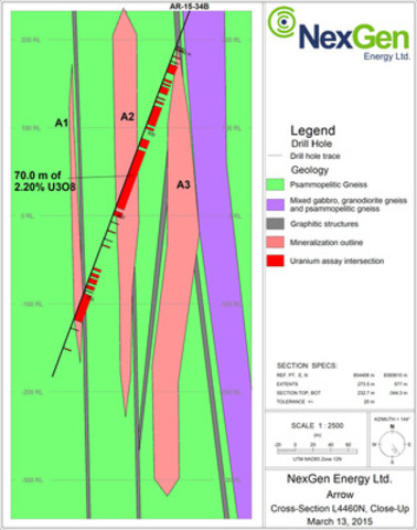 Figure 2: Cross Section of L4460N, Arrow Zone (CNW Group/NexGen Energy Ltd.)