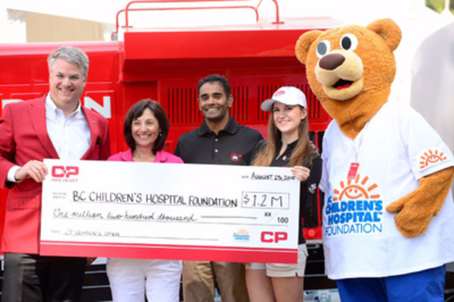 Canadian Pacific's Vice President of Corporate Affairs, Mark Wallace (far left), presents a $1.2M cheque to (left to right): BC Children's Hospital Foundation President and CEO Teri Nicholas, Head of Cardiology at BC Children's Hospital, Dr. Shubhayan Sanatani and the CP Has Heart Ambassador for the 2015 CP Women's Open, 17-year-old Samantha Armstrong. (CNW Group/Canadian Pacific)