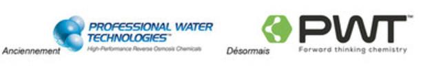 Ancien et nouveau logos de PWT (Groupe CNW/H2O Innovation Inc.)
