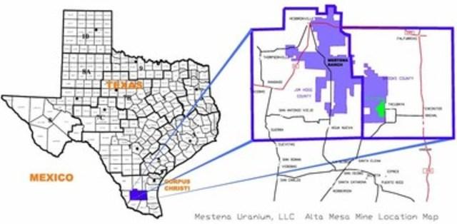 Mestena Uranium, LLC   Alta Mesa Mine Location Map (CNW Group/Energy Fuels Inc.)