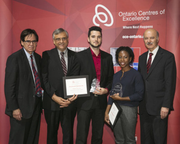 L-R Michael Nobrega, OCE Board Chair, Dr. Tom Corr, OCE President and CEO, Erik Lankin of Accelerated Systems Inc. (OCE Mind-to-Market Award 2016), Chekema Prince of Pression (OCE's Martin Walmsley Award for Entrepreneurship), and Reza Moridi, Minister of Research, Innovation and Science. (CNW Group/Ontario Centres of Excellence Inc.)