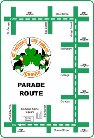 The parade starts across from Varsity Stadium heading east on Bloor, then turning south on Yonge, making a final turn west on Queen and finishing at Nathan Phillips Square. The parade is expected to take approximately an hour and a half to pass any point along the parade route. (CNW Group/St. Patrick's Parade Society)