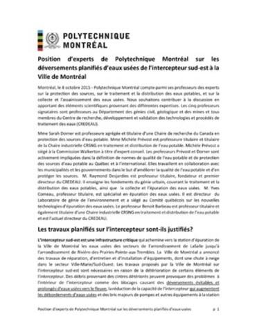 Annexe 4 : Communiqués des experts de la Polytechnique (Groupe CNW/Ville de Montréal - Cabinet du maire et du comité exécutif)