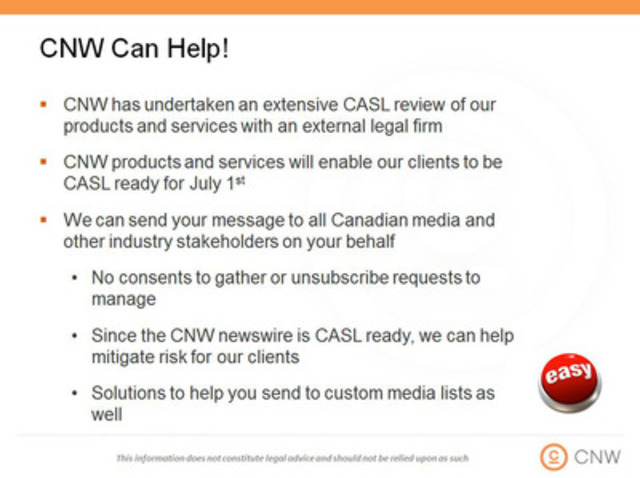 How CNW can help you meet your communications objectives after July 1, 2014 (CNW Group/CNW Group Ltd.)