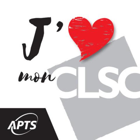 """Logo de la campagne APTS """"J'aime mon CLSC"""" (Groupe CNW/Alliance du personnel professionnel et technique de la santé et des services sociaux (APTS))"""