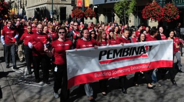 Mick Dilger, Pembina's President and Chief Executive Officer (front row, fourth from left) leads Pembina staff in the 2015 Calgary United Way Kick-Off Parade on September 3, 2015. (CNW Group/Pembina Pipeline Corporation)