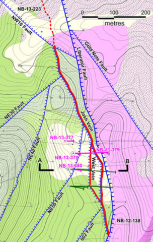 Figure 1: Location of 2014 drillholes at Yellowjacket. Assays from the holes indicated in fuscia are reported in this release. Green traces are from holes with pending assays. The location of the section in Figure 2 is indicated. (CNW Group/Corvus Gold Inc.)