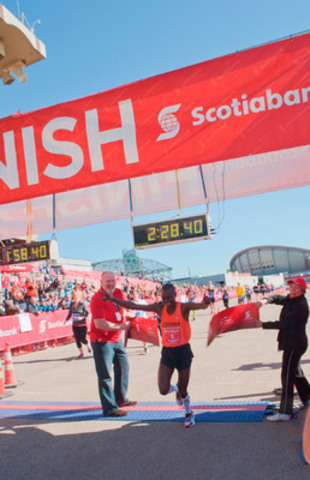 Calgary's Benard Onsare finishes in first place at the Scotiabank Calgary Marathon on May 26, 2013 with a time of 2:28:53. (CNW Group/Scotiabank - Sponsorships & Donations)
