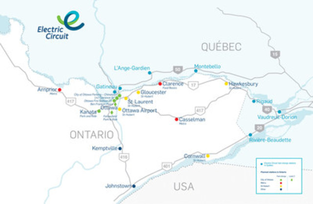 Ontario's Electric Circuit charging stations map. (CNW Group/Electric Circuit)