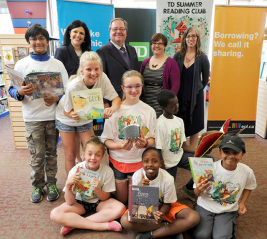 Students from McKernan School joined Lisa Colangelo, Vice-President, Edmonton District, TD Bank Group; Dr. Guy Berthiaume, Librarian and Archivist of Canada, Library and Archives Canada; Josée Bisaillon, award-winning illustrator; and, Lisa Heggum, Child and Youth Advocate, Toronto Public Library, to launch the 2015 TD Summer Reading Club event at the Edmonton Public Library (CNW Group/TD Bank Group)
