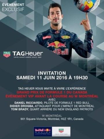 TAG Heuer accueille le défi #NeCraquezPasSousLaPression pour souligner la tenue du Grand Prix de Montréal avec Daniel Ricciardo, Tom Brady et Didier Drogba (Groupe CNW/Tag Heuer)