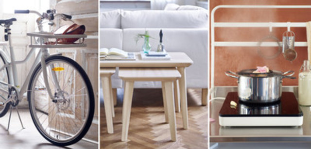 IKEA Receives Three Red Dot Awards for Product Design in 2016. The IKEA SLADDA bicycle, LISABO table series and TILLREDA induction cooktop. (CNW Group/IKEA Canada)