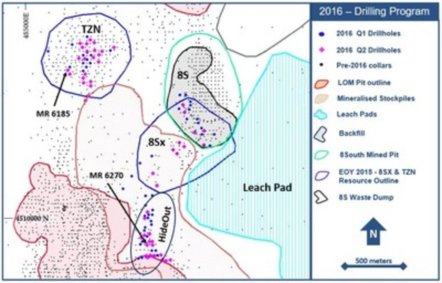Figure 1. Drillhole location plan map for the 2016 exploration drill program at the Marigold mine, Nevada, U.S. (CNW Group/Silver Standard Resources Inc.)