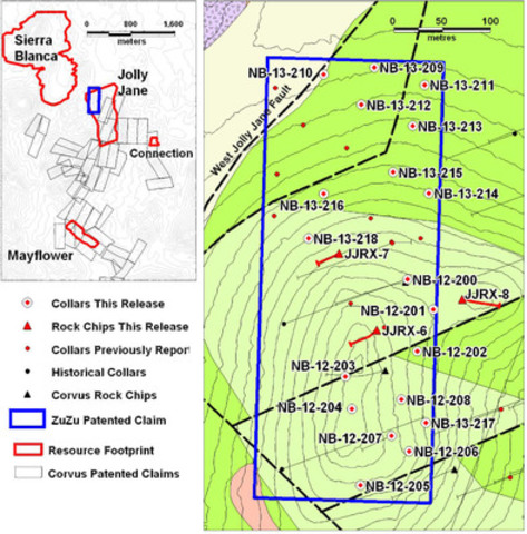 Figure 1: Location of the ZuZu Claim and drill holes reported in this release. Topographic contour interval is 5 metres. All reported holes are vertical. Chip channel sample traces are shown in red. (CNW Group/Corvus Gold Inc.)